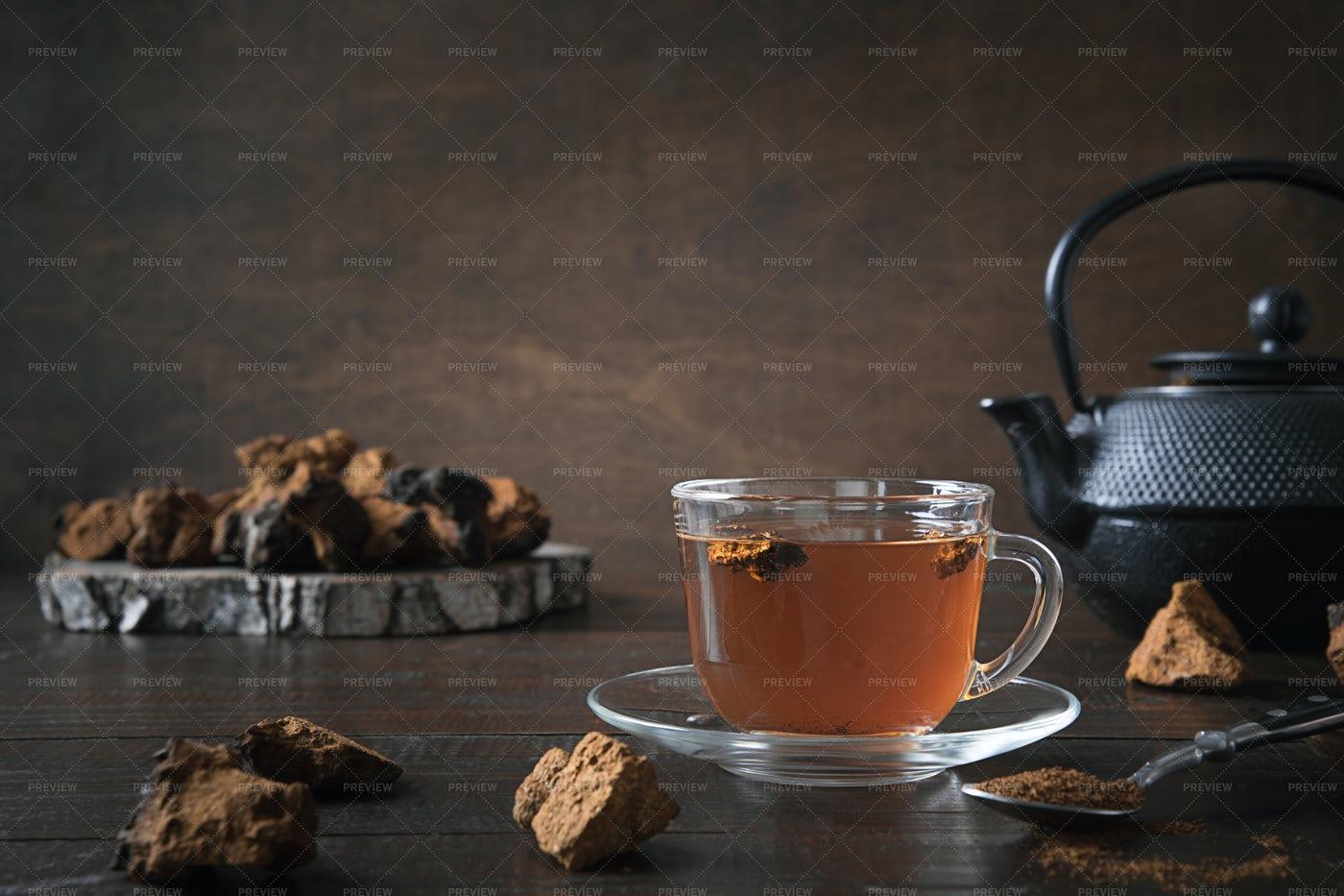 Chaga Mushroom Tea Background: Stock Photos