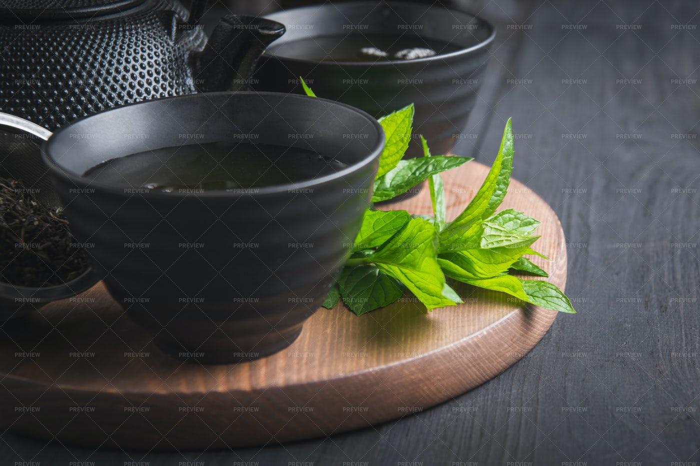 Hot Tea With Mint: Stock Photos