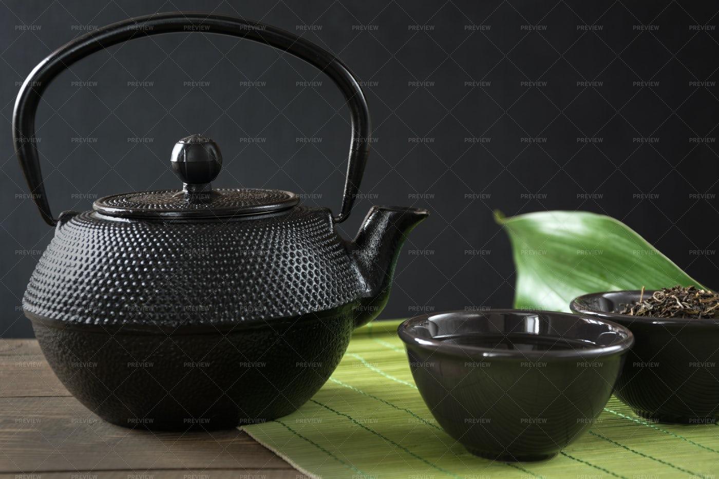 Black Teapot And Cup: Stock Photos