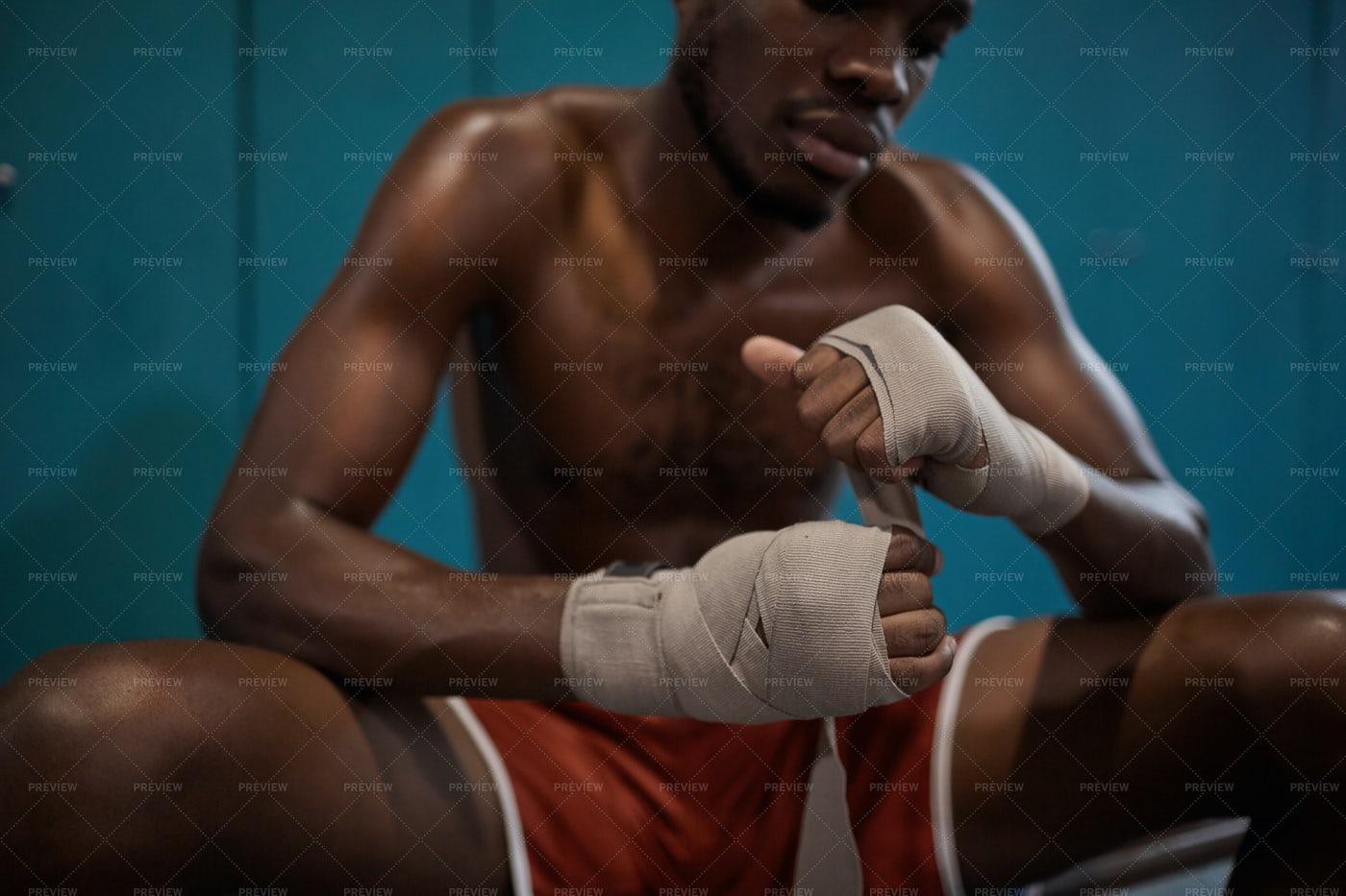 Boxer Preparing For Ring: Stock Photos