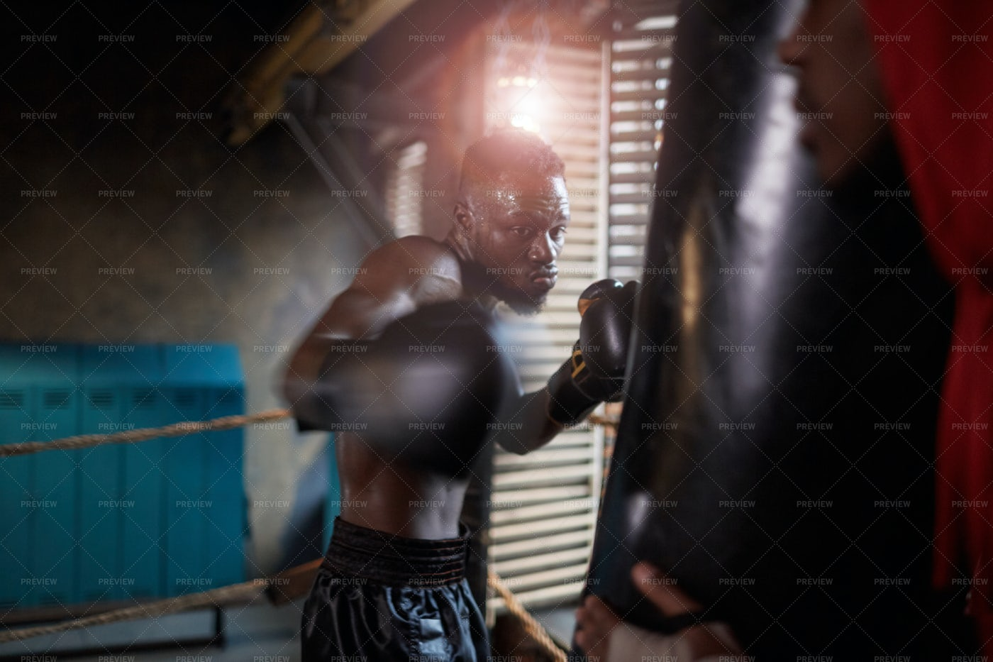 Boxer With Punching Bag: Stock Photos