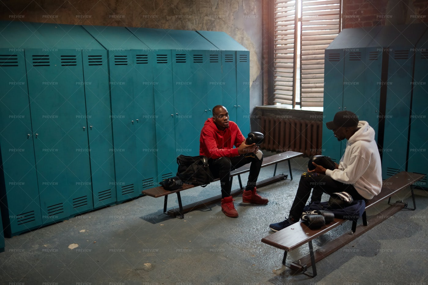 Two Boxers In Locker Room: Stock Photos