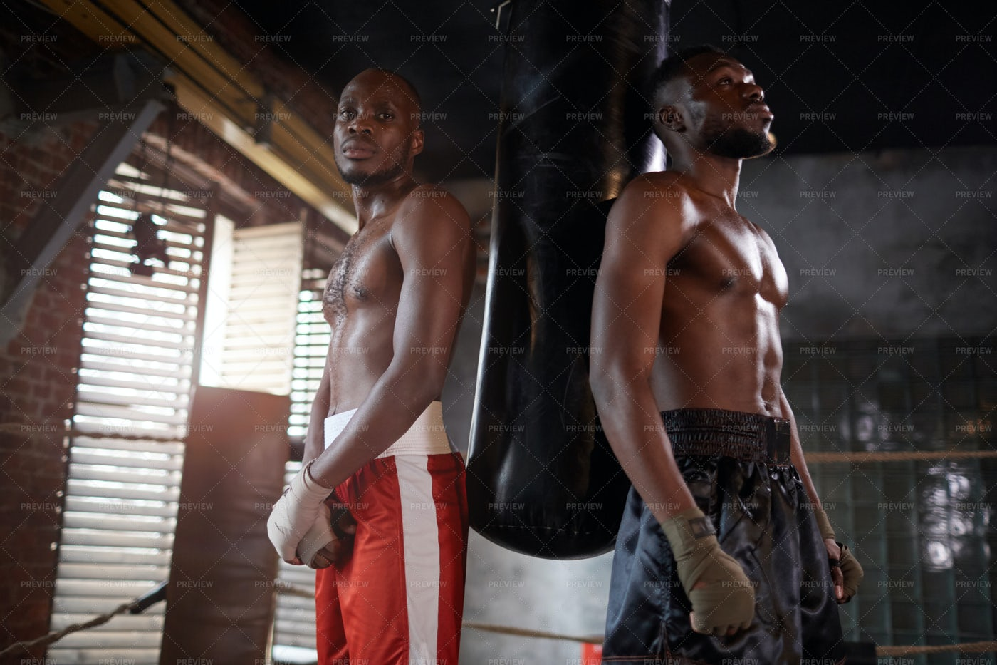 Two Boxers With Punching Bag: Stock Photos
