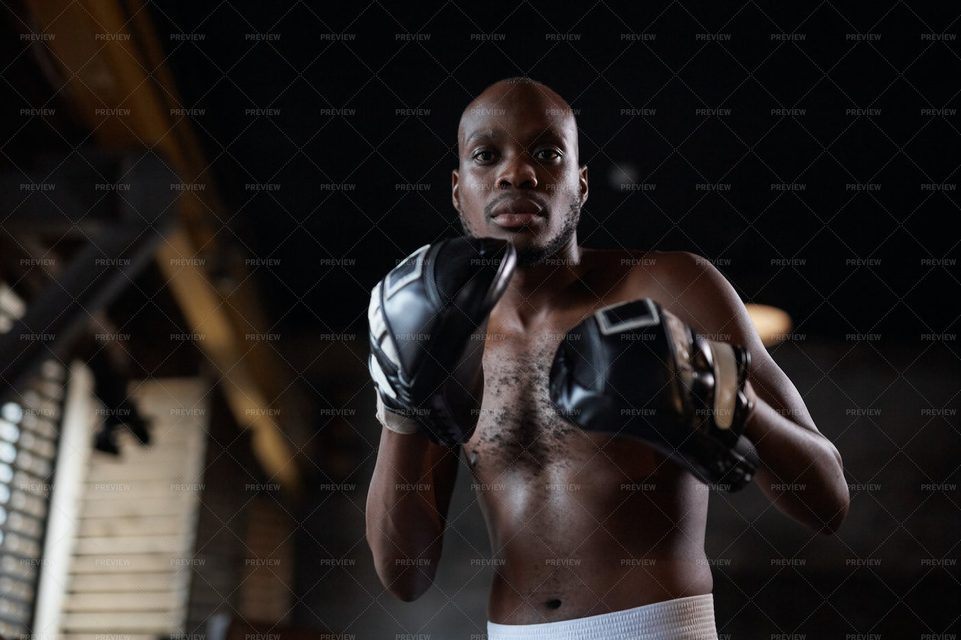 Sparring Partner Wearing Focus Mitts: Stock Photos