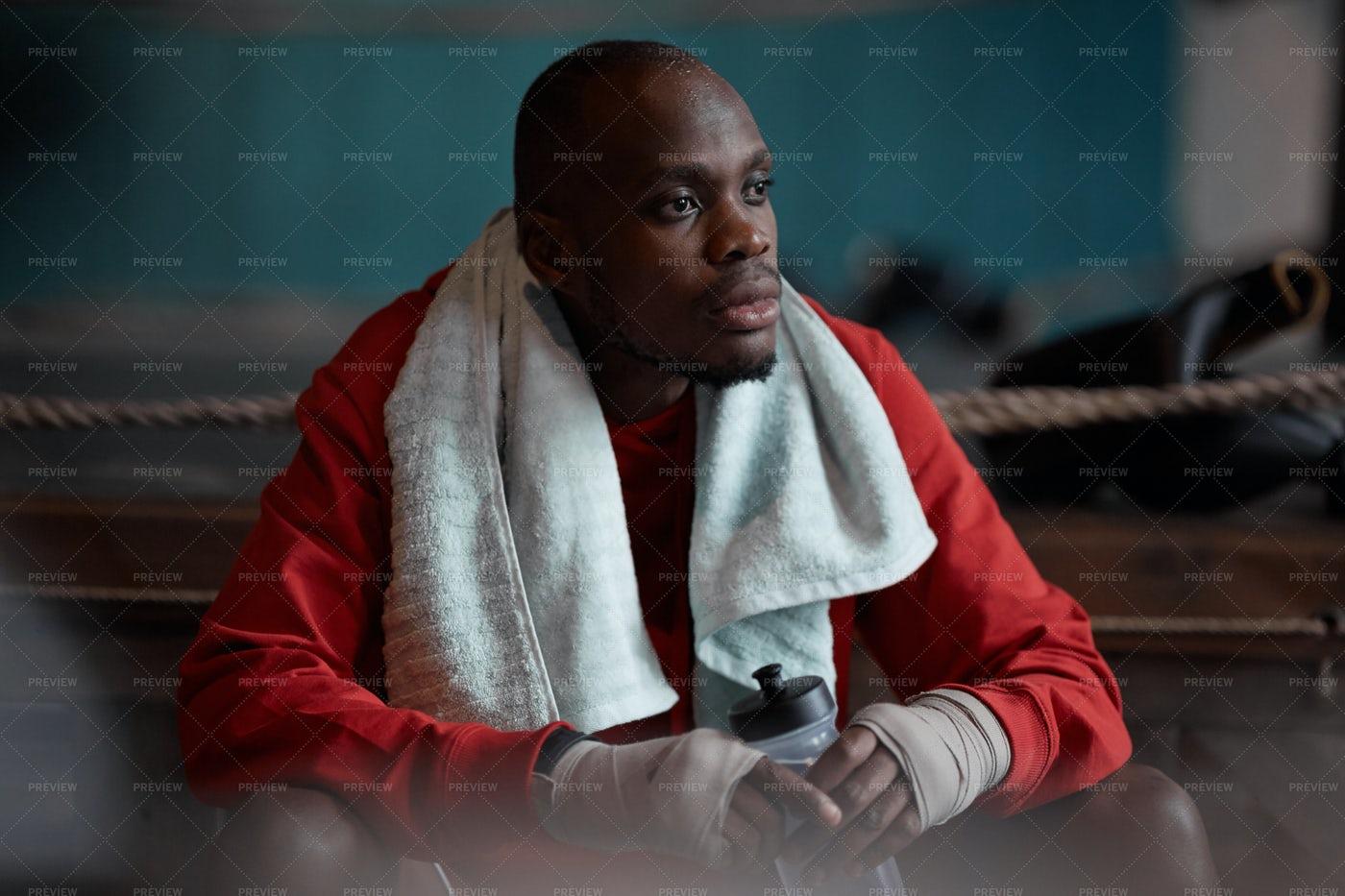 Moody Boxer Portrait: Stock Photos