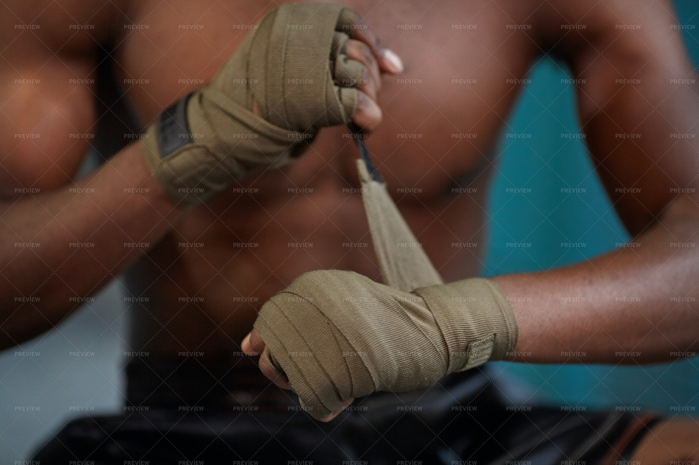 Boxer Wrapping Hands Close-Up: Stock Photos
