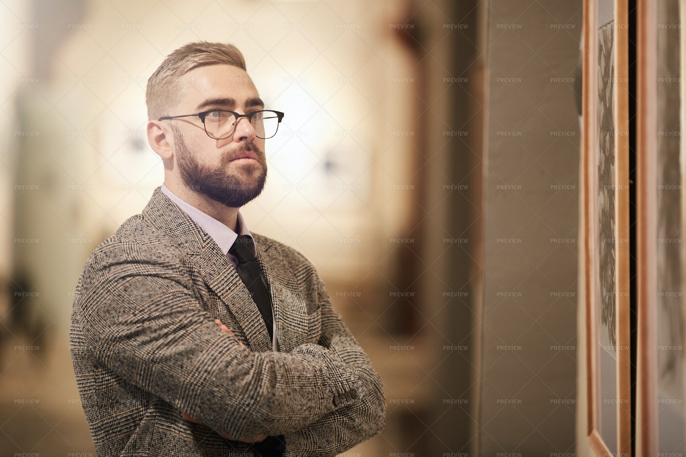 Man Studying Artwork In Gallery: Stock Photos
