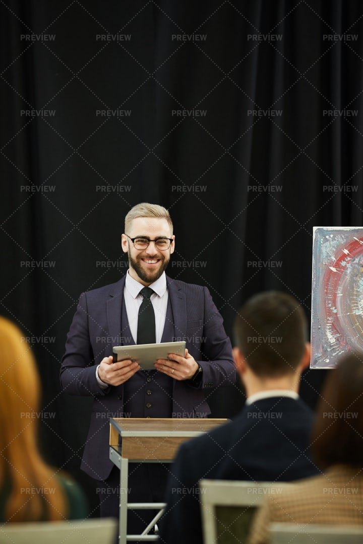 Businessman Gives Presentation: Stock Photos