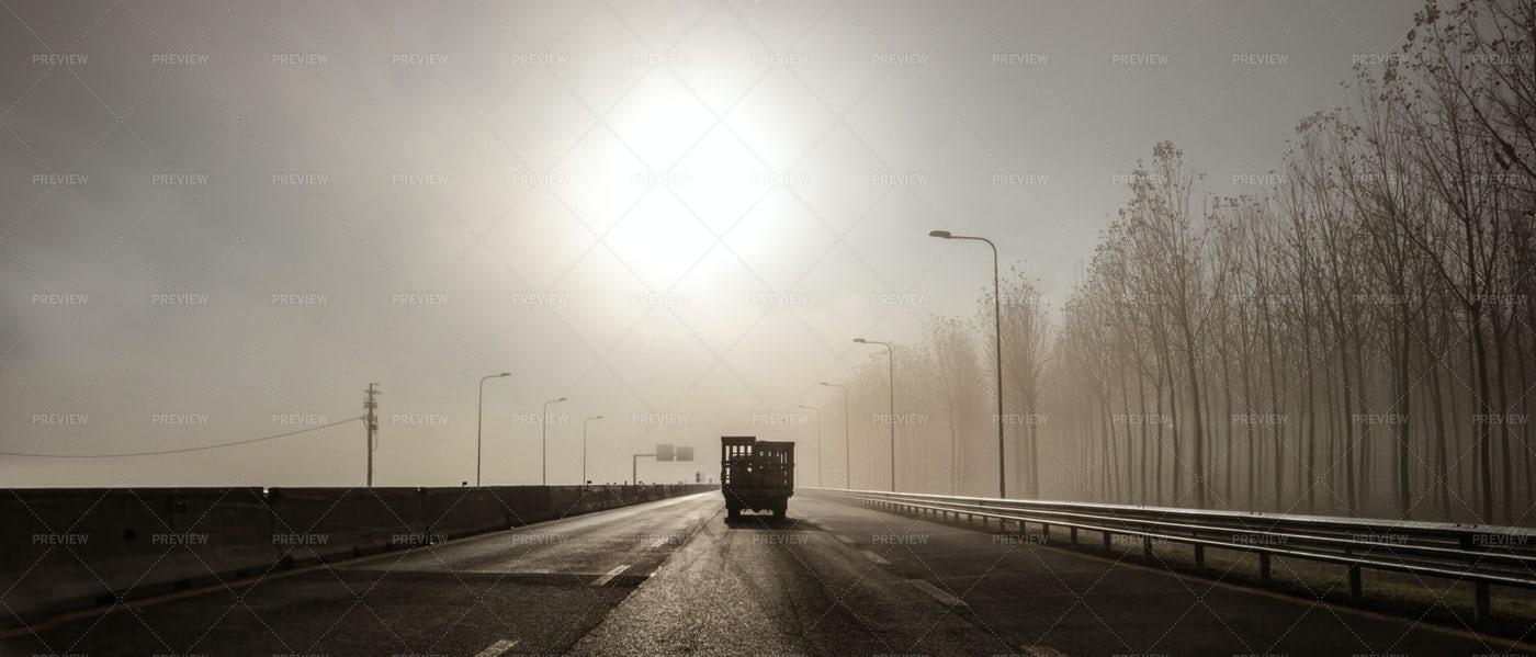 Deserted Foggy Highway: Stock Photos