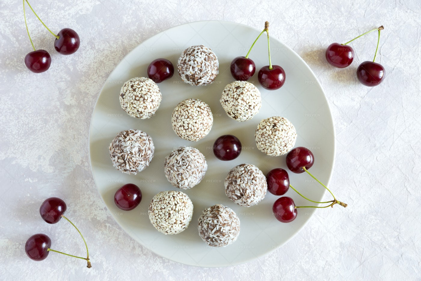 Vegetarian Energy Ball Candy: Stock Photos