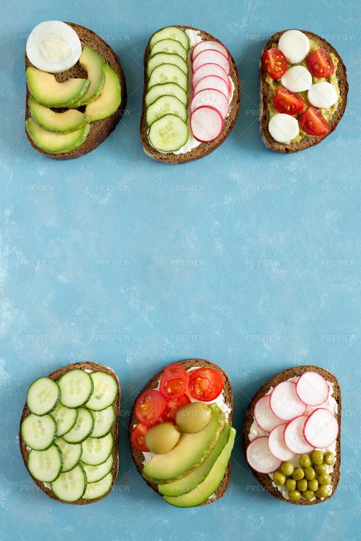Vegetarian Sandwiches Background: Stock Photos