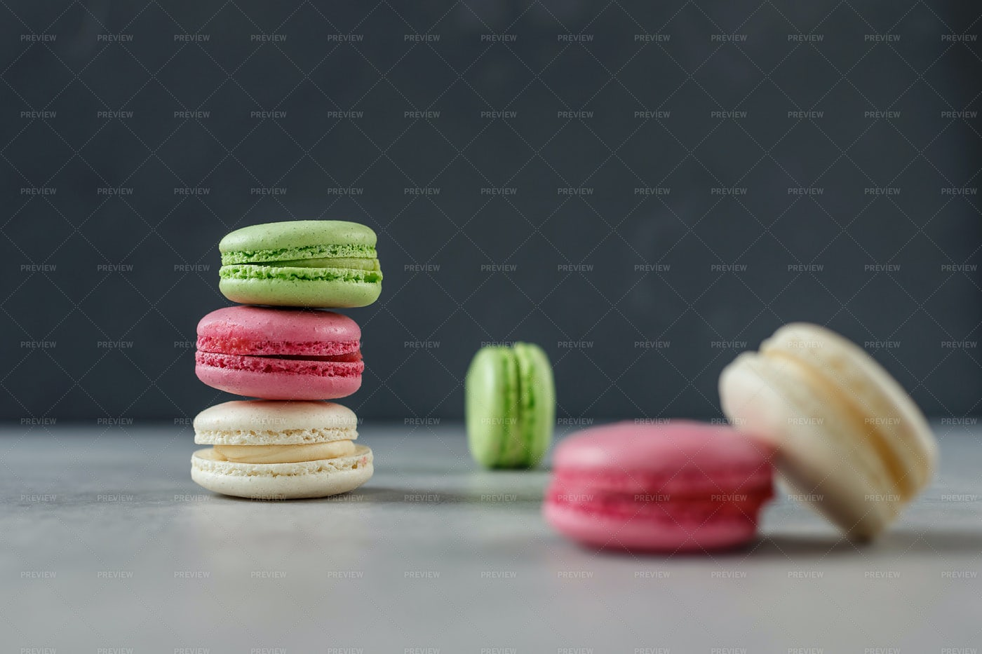 Macarons On Gray: Stock Photos