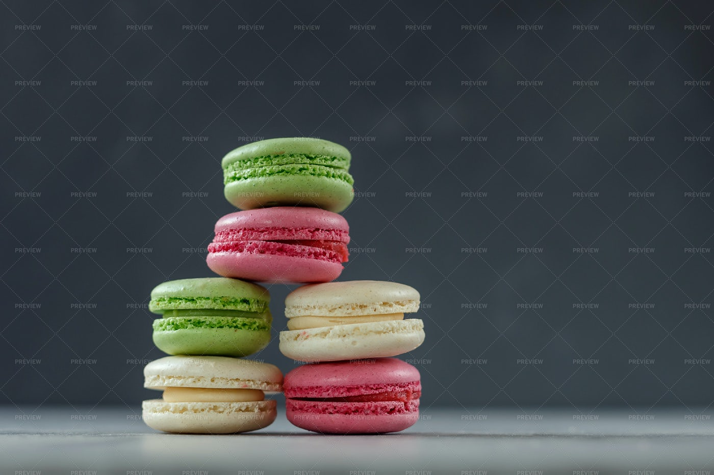 Macarons Like A Pyramid: Stock Photos