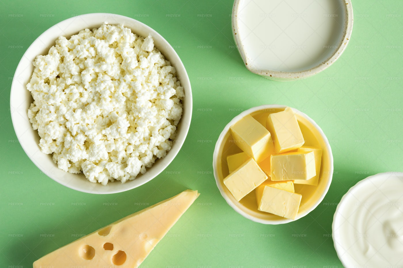 Dairy Products On Green: Stock Photos