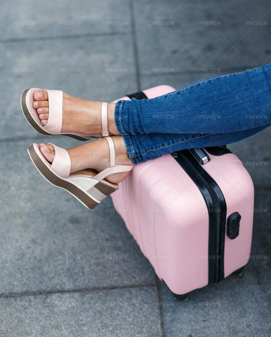 Feet On Suitcase: Stock Photos