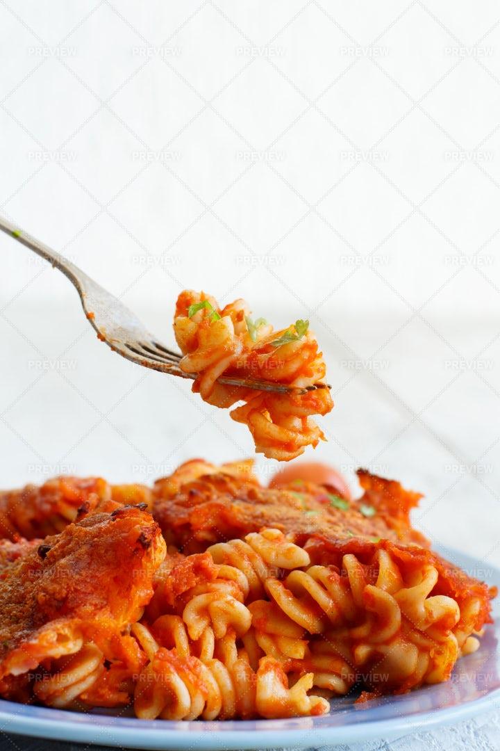 Baked Pasta With Sauce: Stock Photos