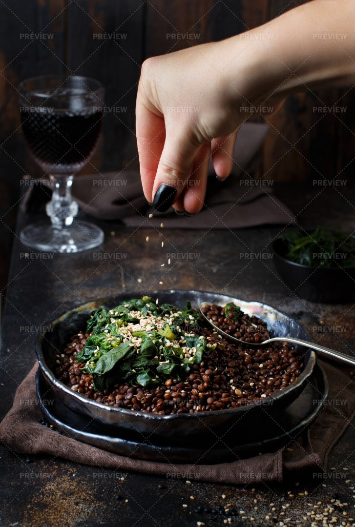 Black Lentils And Vegetables: Stock Photos