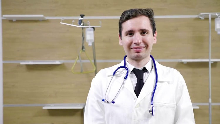 Male Doctor With A Stethoscope : Stock Video