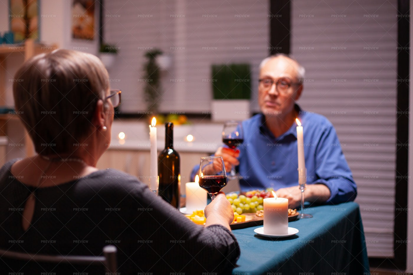 Candlelit Dinner At Home: Stock Photos