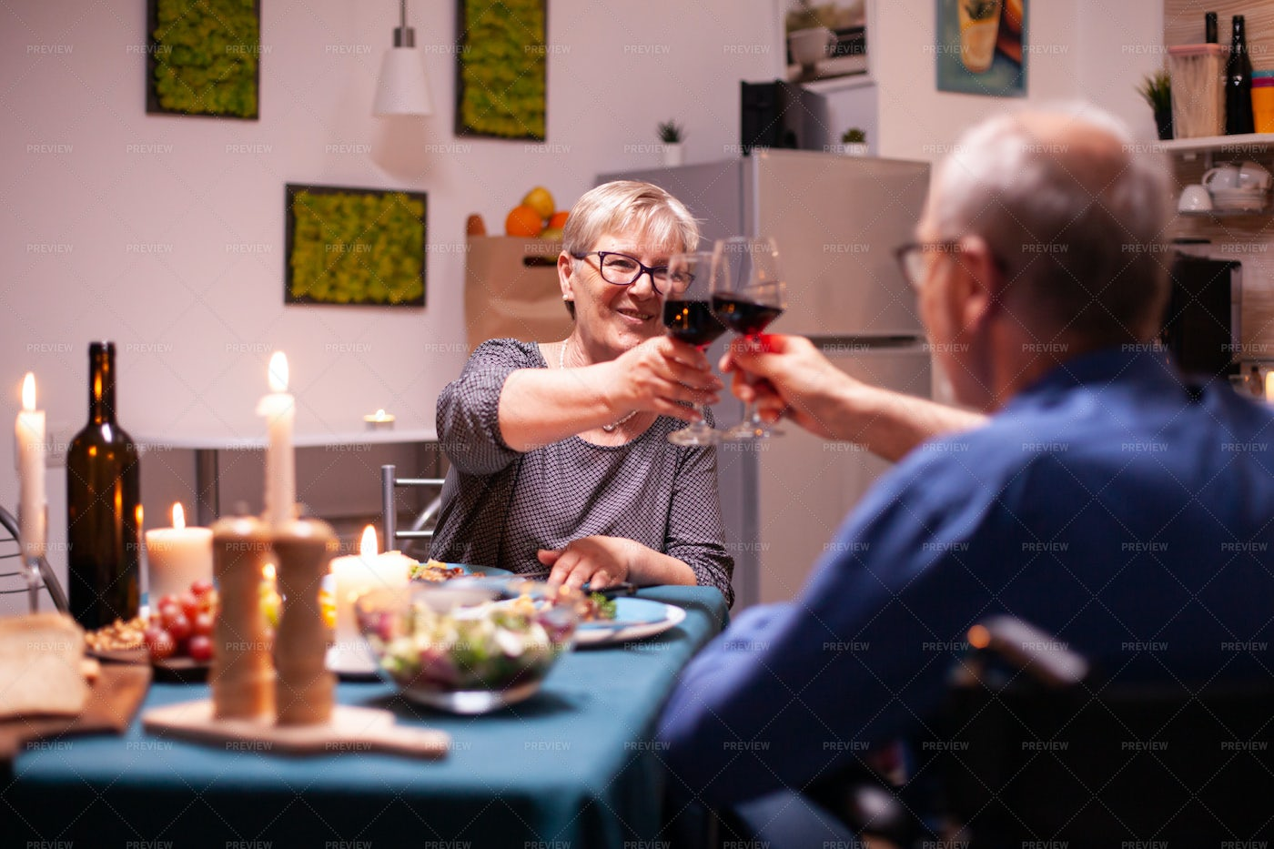 Toasting Over A Romantic Dinner: Stock Photos