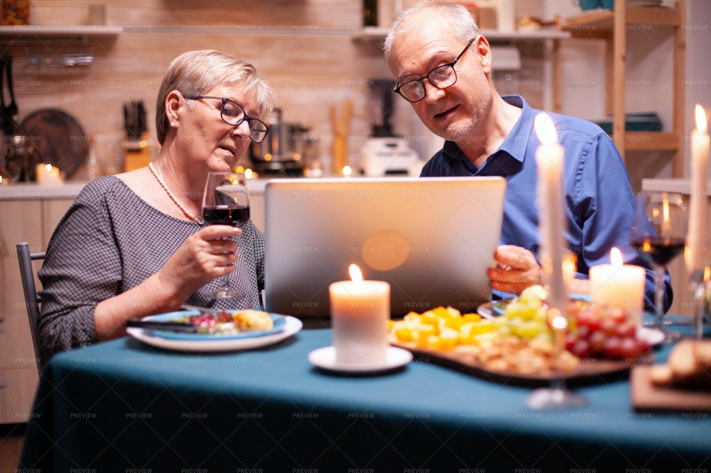 Online Shopping At Dinner: Stock Photos