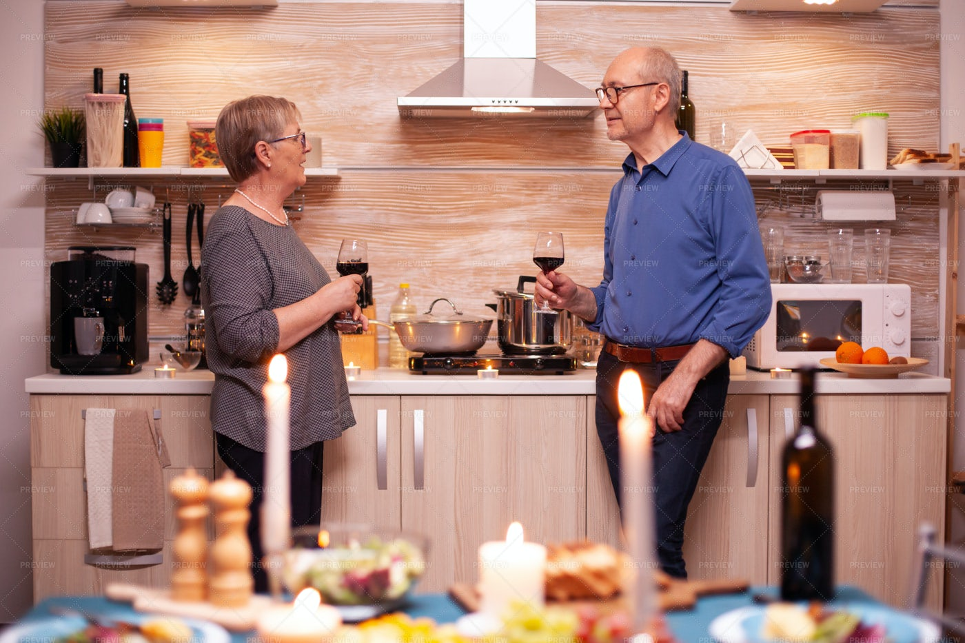 Drinking Wine In The Kitchen: Stock Photos