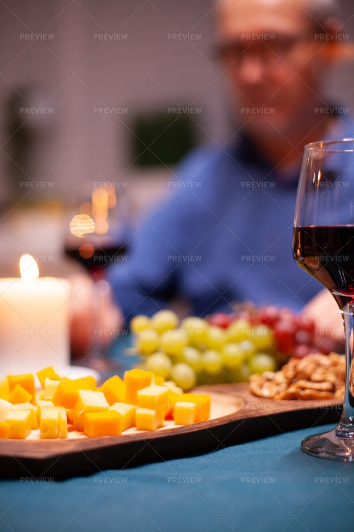 Grapes And Cheese At Dinner: Stock Photos
