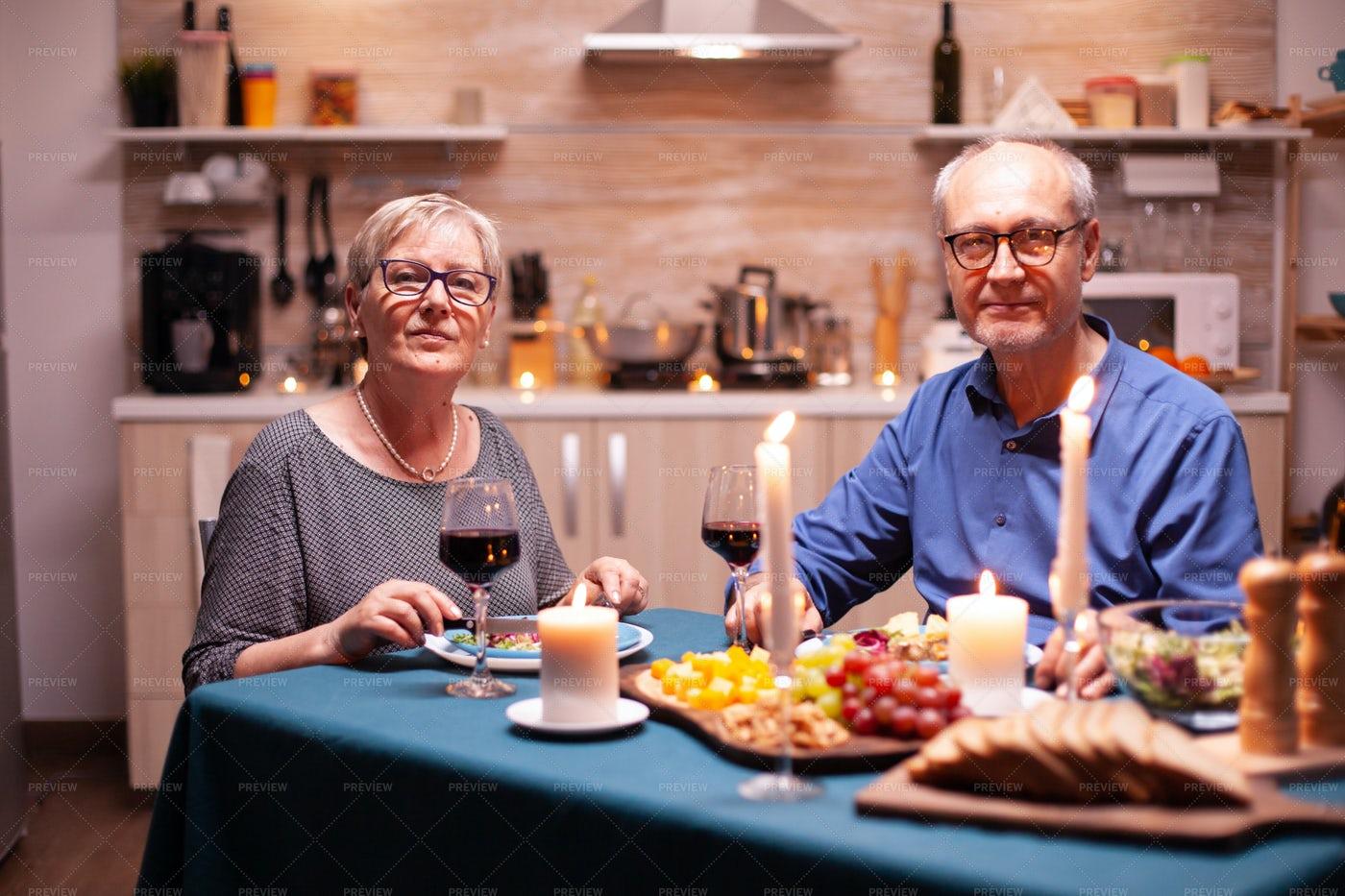 A Couple At Dinner: Stock Photos