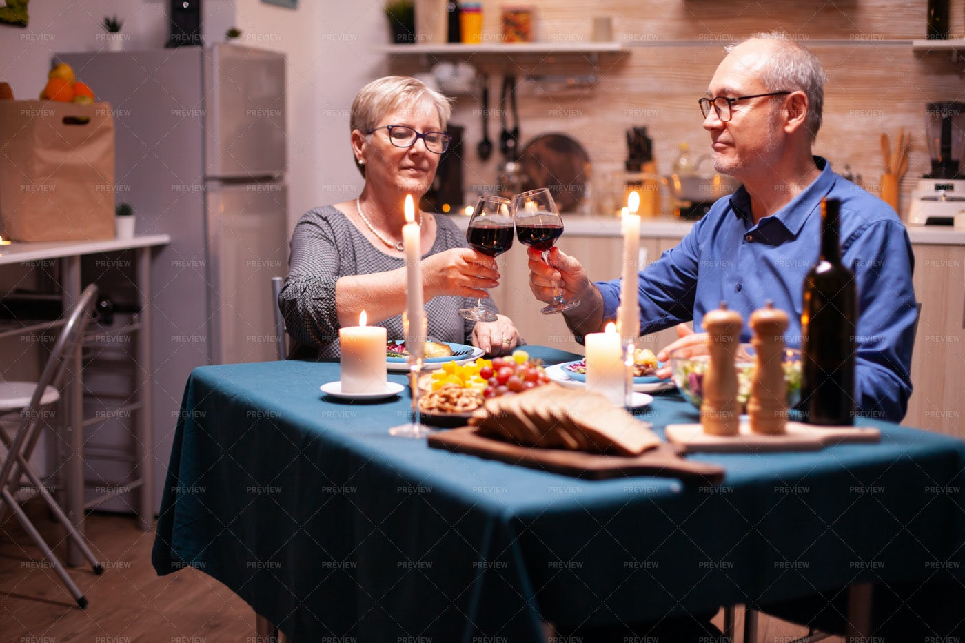 Dining Together With Wine: Stock Photos
