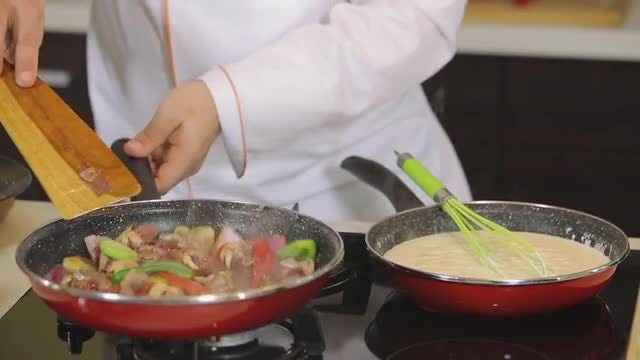 Close Up Shot Of Chef Cooking: Stock Video