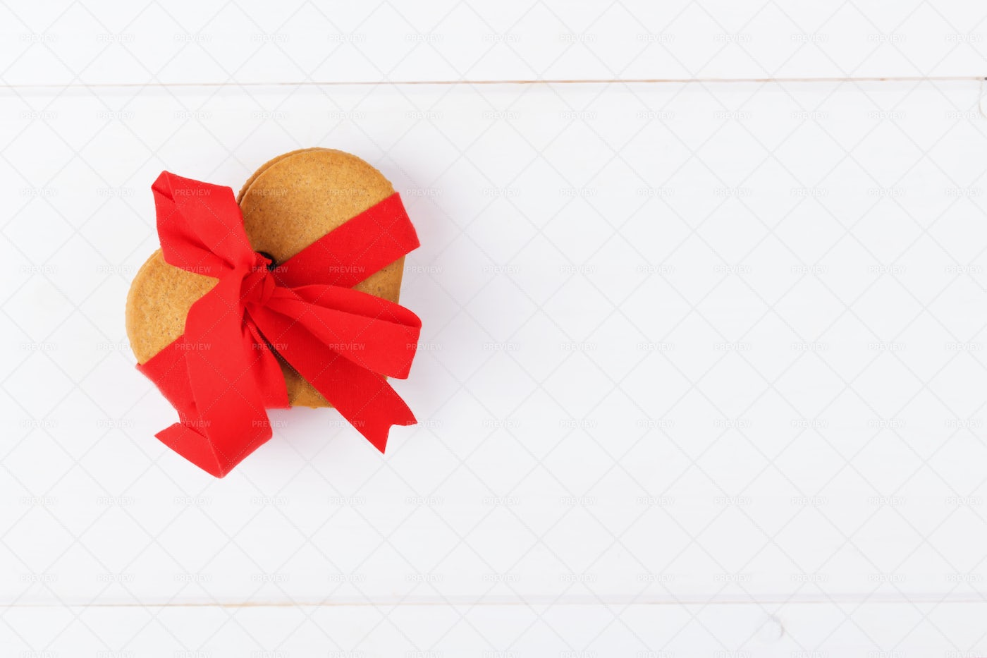 Cookies In A Red Ribbon: Stock Photos