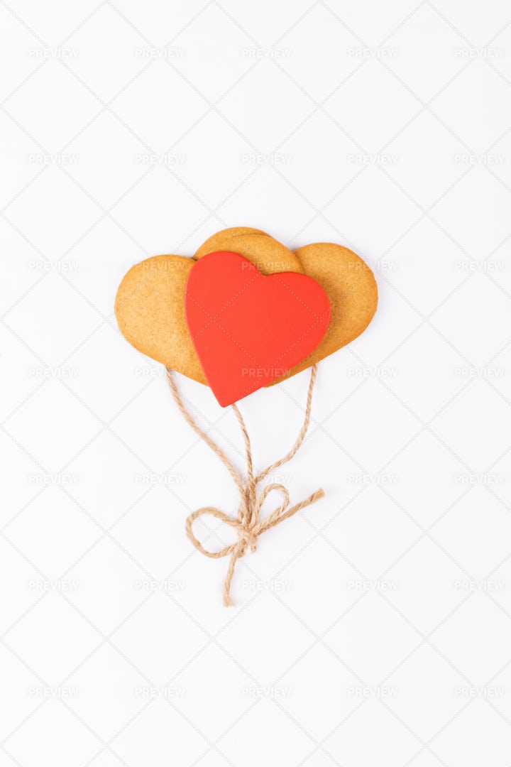 Heart-Shaped Cookies As Balloons: Stock Photos