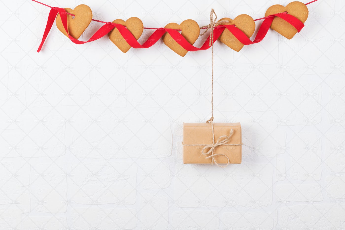 Gift Hanging From Bunting: Stock Photos