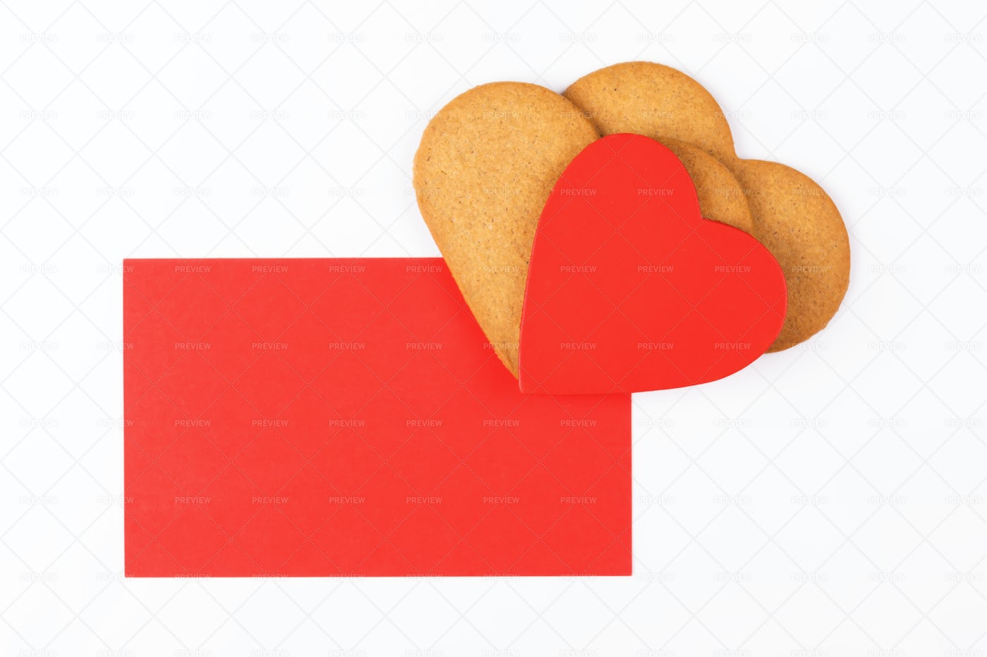 Greeting Card With Heart Cookies: Stock Photos