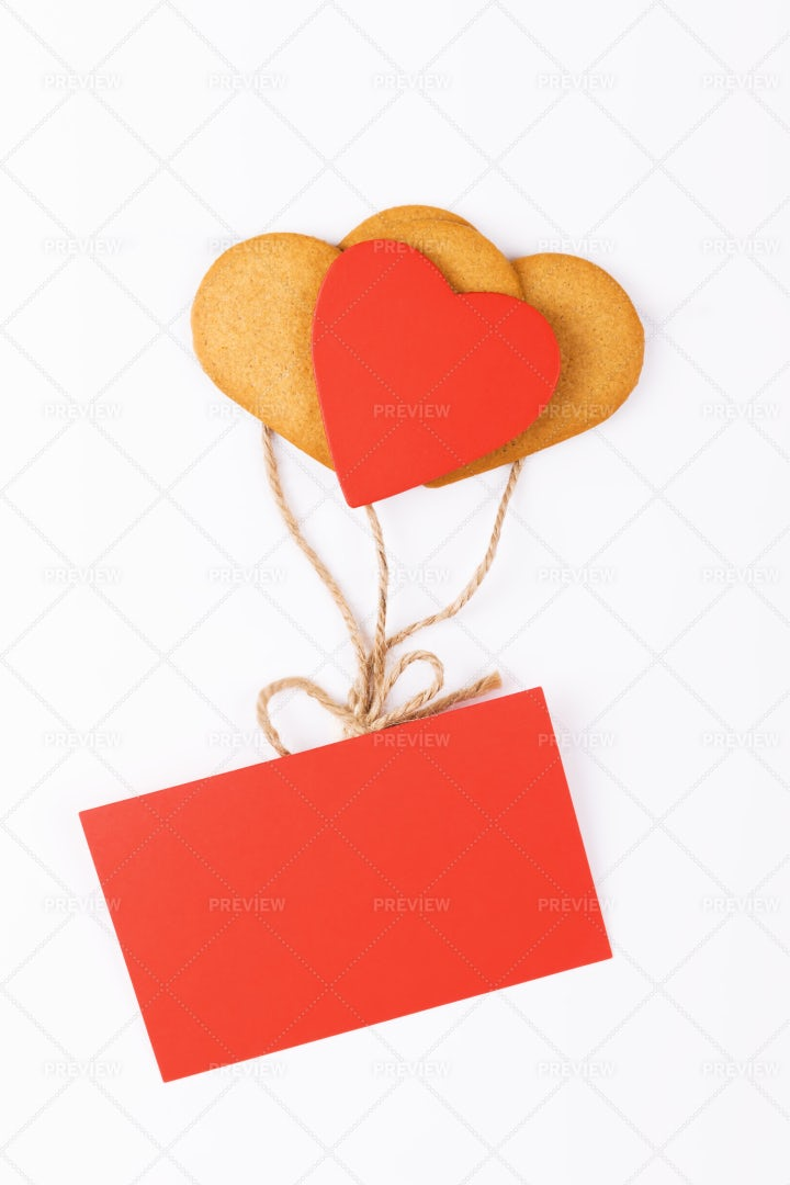 Heart Cookies And A Card: Stock Photos
