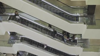 Escalators In The Mall: Stock Video