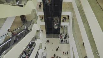 Escalators And Elevators In Mall: Stock Video