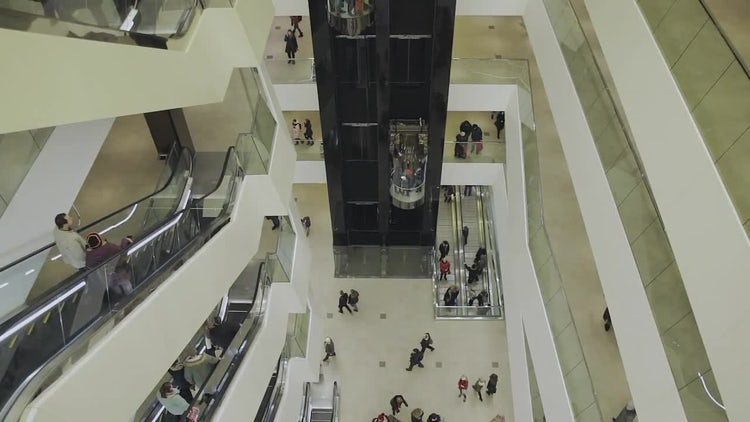 Escalators And Elevators In Mall: Stock Video