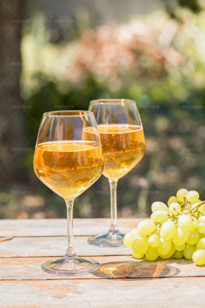 Glasses Of Amber Wine: Stock Photos