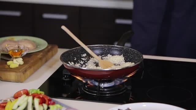 Male Chef Cooking Dinner: Stock Video