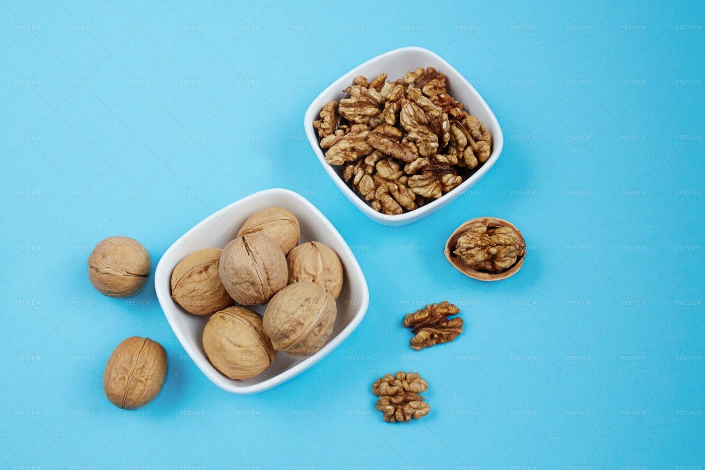 Walnut Kernels In  Bowls: Stock Photos