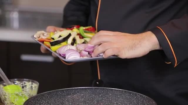 Chef Preparing Vegetable Stew: Stock Video