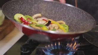 Chef Cooking Mixed Vegetables: Stock Footage