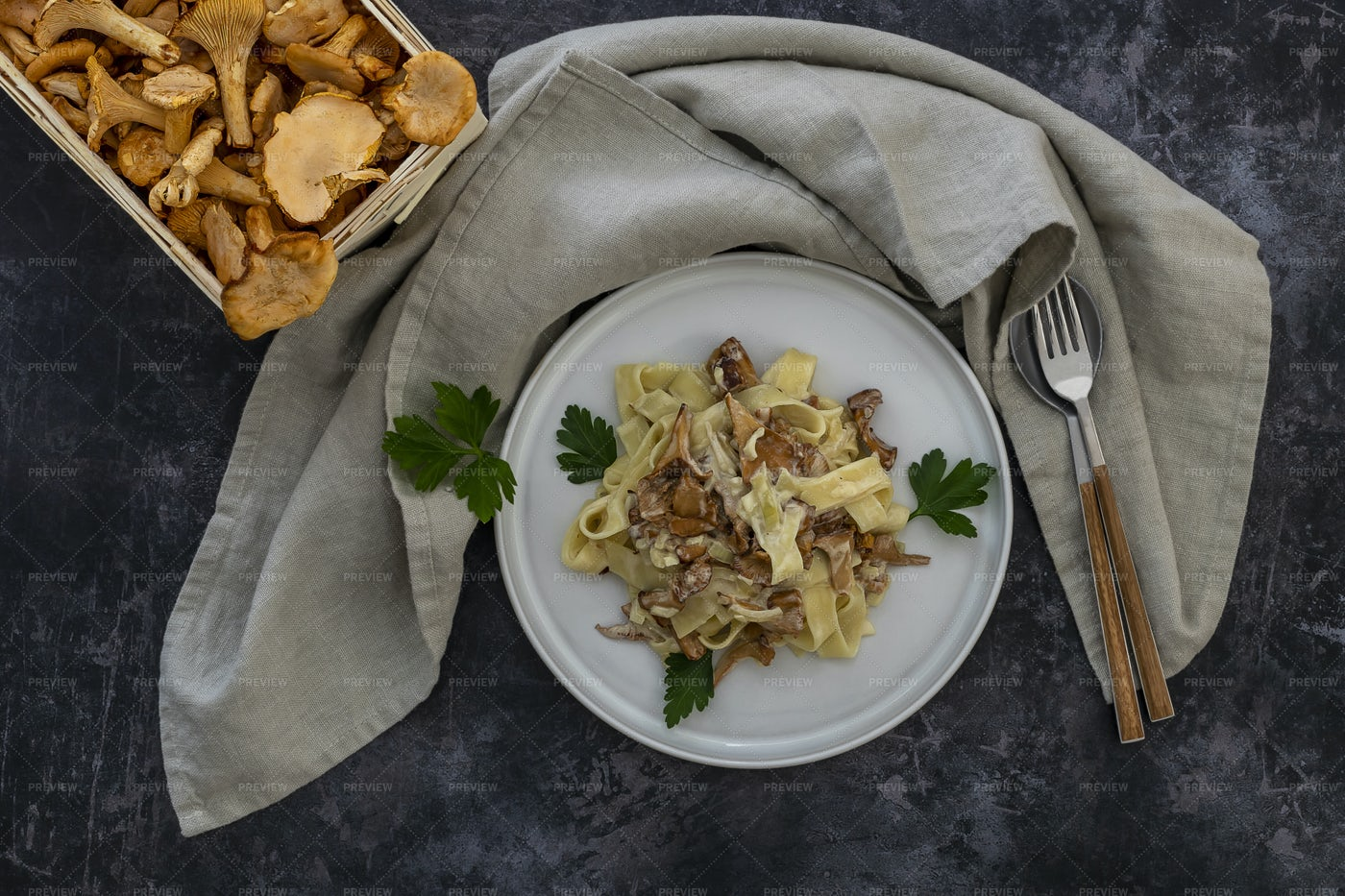 Autumn Pasta With Mushrooms: Stock Photos