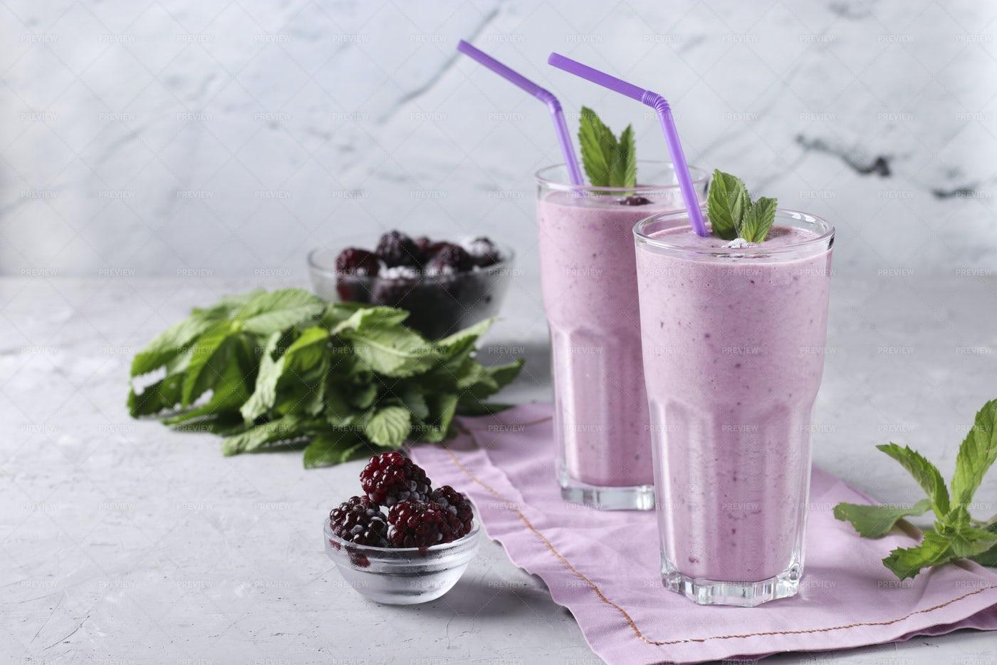 Two Berry Smoothies: Stock Photos