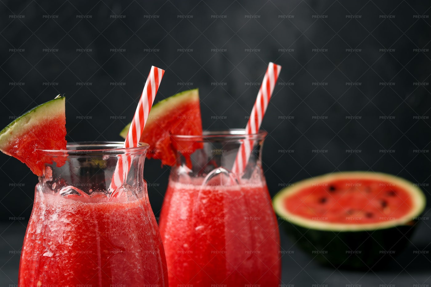 Glasses Of Watermelon Smoothie: Stock Photos