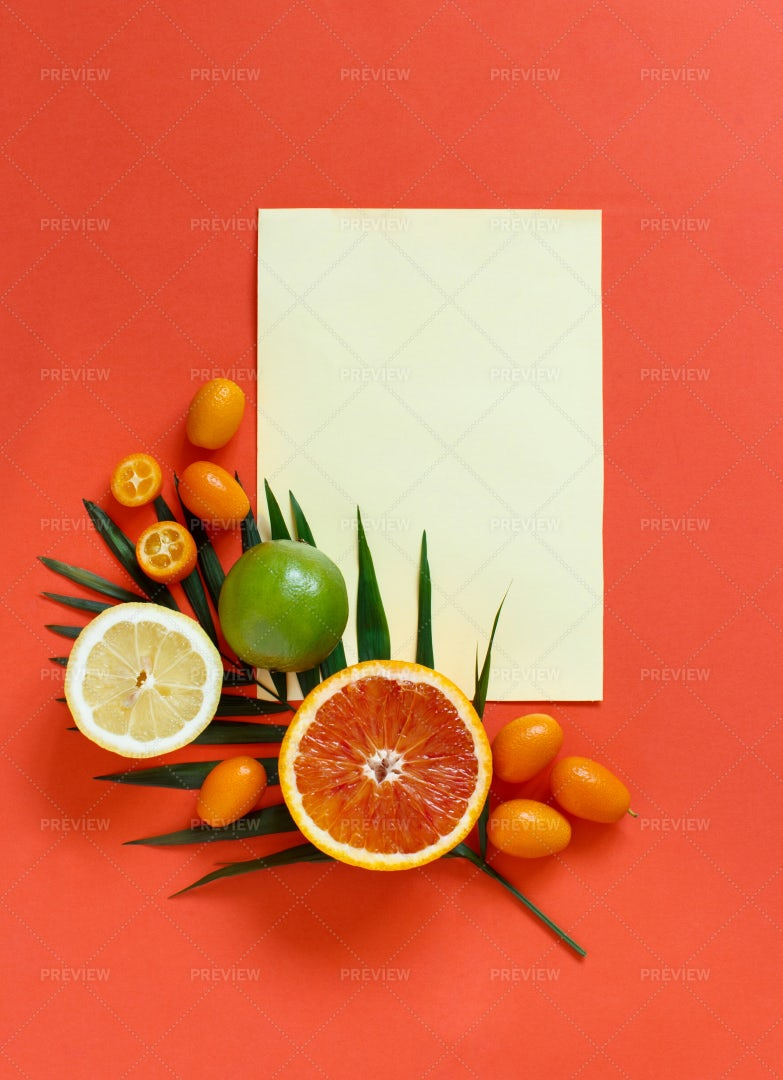 Tropical Fruits Note Background: Stock Photos