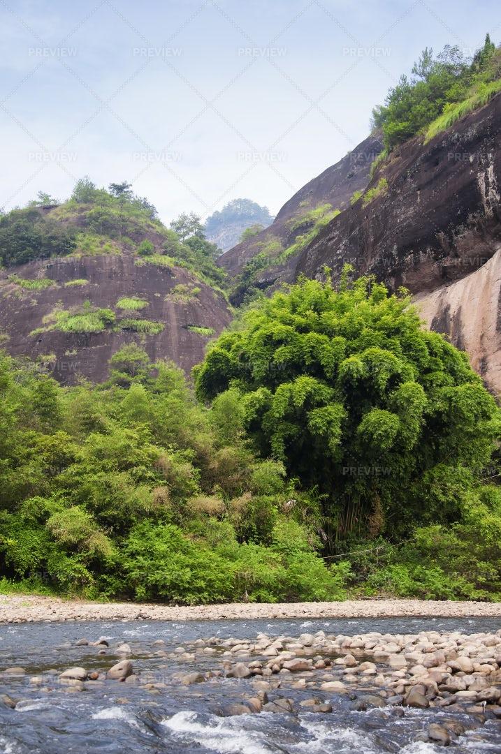 River In Wuyi Mountains: Stock Photos