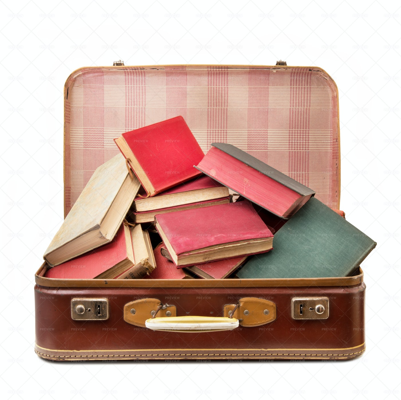 Suitcase Full Of Books: Stock Photos
