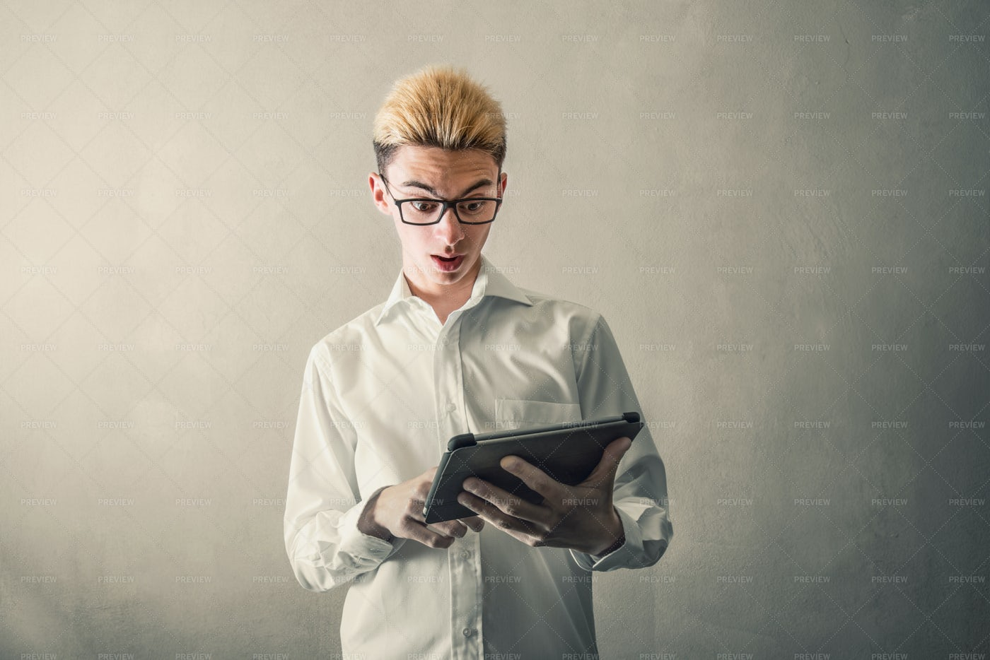 Reading A Tablet: Stock Photos
